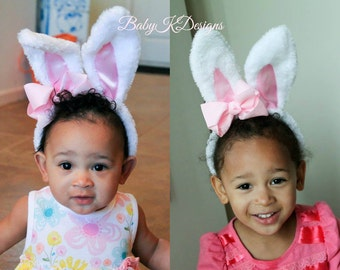 Easter Bunny Ear Headband  Baby Girl Bow Hair Clip First Easter Headband Plush Furry #babykdesigns Poseable Bunny Ears and Baby Bow #Easter