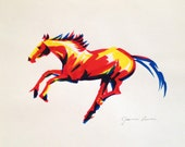 Horse art original horse drawing - Running Horse in Primary Colors