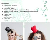 Mini Top Hat Pdf Pattern, Tutorial. No sewing machine or millinery skills required! Burlesque, Party, Costume, Padgeant
