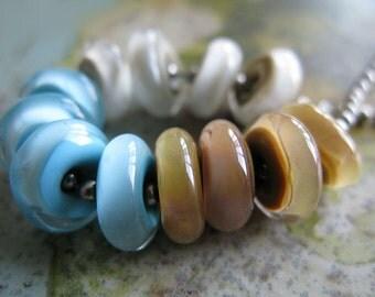 clay sand & sky encased glass discs Lampwork Beads by Ellen Dooley sra (12)