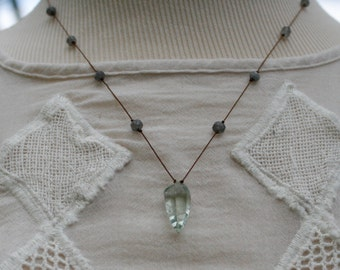 Green Quartz Faceted Teardrop on Silk Cord Necklace