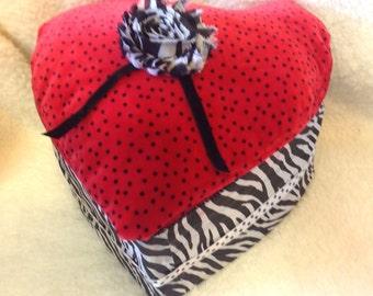Red Velvet  Deco Heart Box