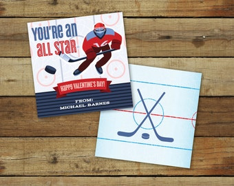 Printable hockey Valentine's Day Card, custom all star sports valentine, classroom valentines for boys - instant download, editable pdf
