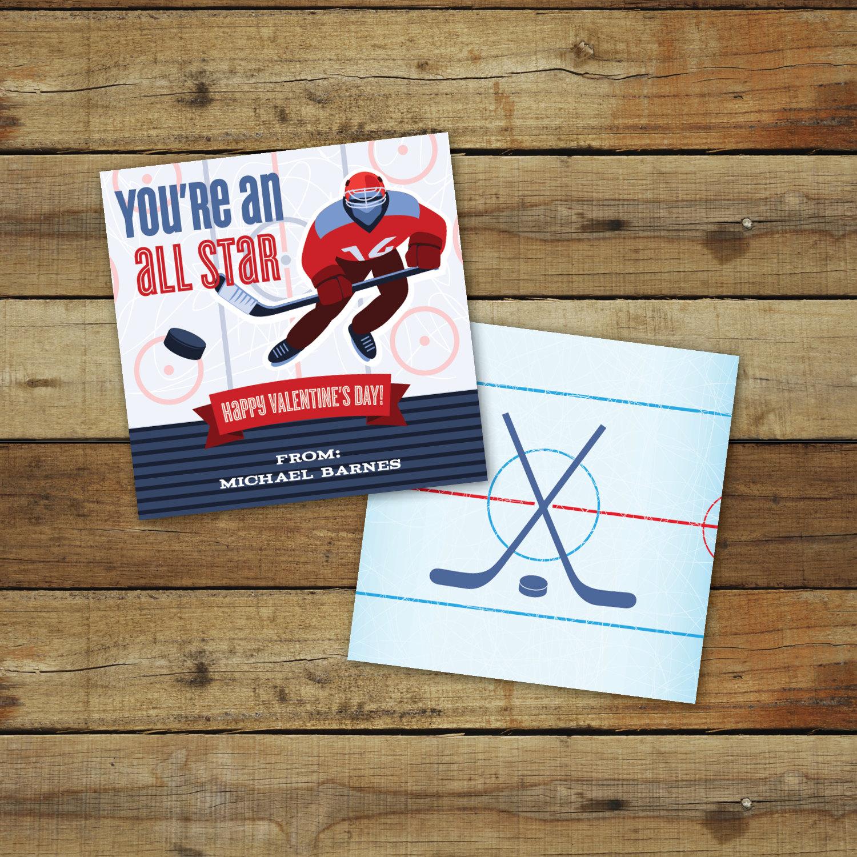 Printable hockey Valentines Day Card custom all star – Custom Valentines Card