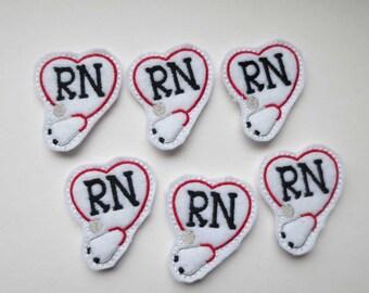 RN Stethoscope Heart Felt Machine Embroidered Feltie - 086