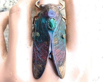 CICADA RING,  Cicada Gemstone Statement Ring, cicada jewelry, insect jewelry, Malachite ring, Steampunk