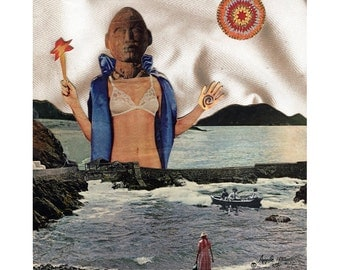 WOMAN POWER - collage surreal, fantasy mixed media original