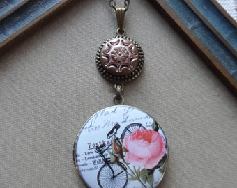 Antique Button Locket Necklace- Pink Roses