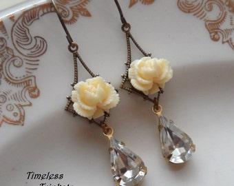 1/2 Price Sale- Buttercream Rose Earrings with Vintage Glass Teardrop