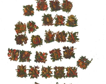 Vintage German Die Cut Floral Alphabet w/Unique Designs Set of 30 Pieces