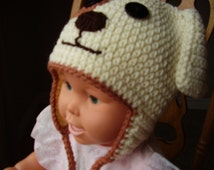 Handmade, crochet natural colour with brown dog earflap hat, 20 inches diameter- 5 to Preteen