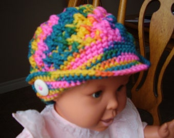 Crochet, Variegated Multi Color, Peaked Hat, 2-4 yr. old size, Girls, accessory