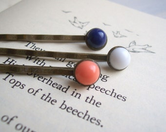 Little Dots circle bobby pins - coral, navy and white hair grips - handmade