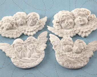 Cherub Angel Embellishments - 4 pcs resin - Cupid Valentines Christmas - DECODEN