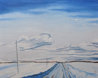 """Original Large Landscape Oil Painting Impressionist Winter Snow Country Road Appalachian White """" Snowy Road ch Daniel LaPatrie Quebec Canada"""
