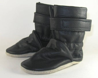 Soft Sole Black Leather Baby Boots 6 to 12 Month