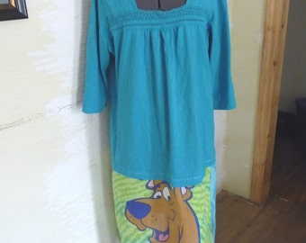 Scooby Dress, Upcycled Clothing, Plus Size Dress, Aqua Top, Cartoon Character, Dog Cartoon, Recycled Clothing, Refashion, Unique Clothing