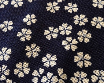 Sevenberry cherry blossom sakura navy indigo blue Japanese cotton fabric