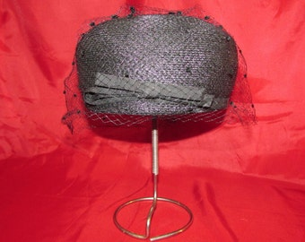 Pill Box Hat 1950's Union Made Straw Pill Box Hat with Netting