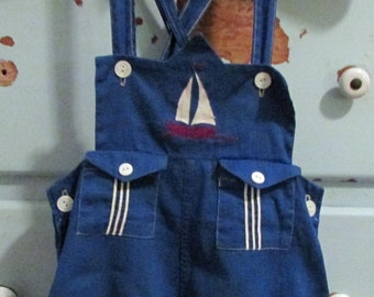 Stantogs 1950's Toddler Boy Overall Blue with Sailboat