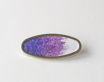 Purple ombre brooch, amethyst glitter pin,  purple gradient brooch, glittering oval brooch, sparkling brooch, glitter jewelry