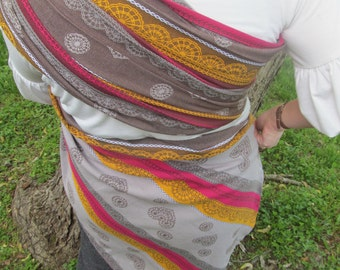 Ring Sling, Baby Carrier - Coffee Lace Wrap Conversion WCRS Lenny Lamb -gathered Shoulder - DVD included, newborn to toddler