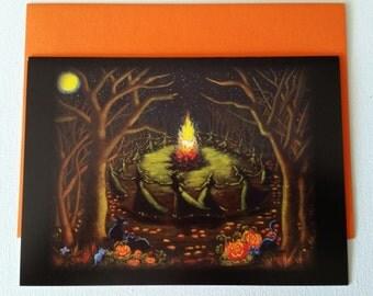 "Halloween frame-able greeting card ""Halloween Bonfire"""