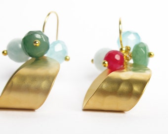 Stone earrings, gold earrings, gemstone jewelry, sterling silver, dangle earrings, bridesmaid jewelry, mineral earrings,pendientes minerales