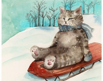 Sledding Cat - print of watercolor