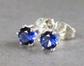 Blue sapphire studs, 4mm gemstones, genuine sapphire lab created, blue gemstone studs sterling silver,sapphire earrings,September birthstone