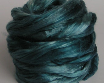 Silk Top Roving Sliver Cultivated Mulberry TEAL for ONE Supreme Luxurious Fine Quality Handspinning Felt Craft Fusion 2 oz