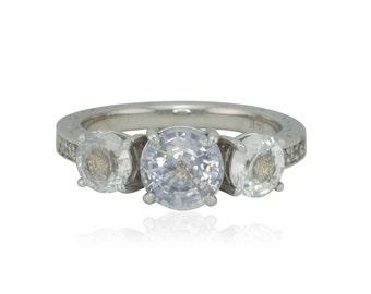 Engagement Ring, White Sapphire Three Stone Engagement Ring with Diamond Eternity Shank - LS2573