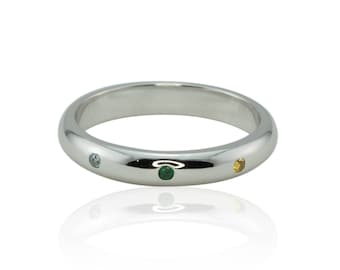Birthstone Ring, Natural Aquamarine Mother's Ring, Natural Emerald Stacking Ring, March Birthstone Ring, May Birthstone Ring - LS3297