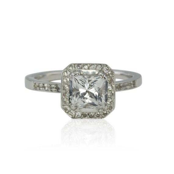 Engagement Ring Asscher Cut White Sapphire Engagement Ring