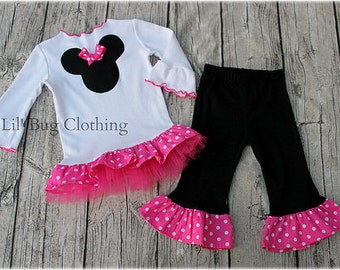 Custom Boutique Clothing Pink White Dot Tulle Minnie Mouse Pant and Tee Winter Girl