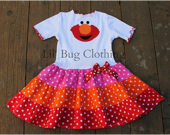 Custom Boutique Pink Orange and Red Elmo Tiered Birthday Dress