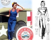 E-Pattern- Size B- WWII Homefront- 1940s Overalls, Playsuit, & Trousers- PDF Sewing Pattern