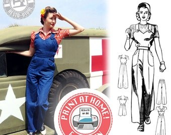 E-Pattern- Size C- WWII Homefront- 1940s Overalls, Playsuit, & Trousers- Sewing Pattern