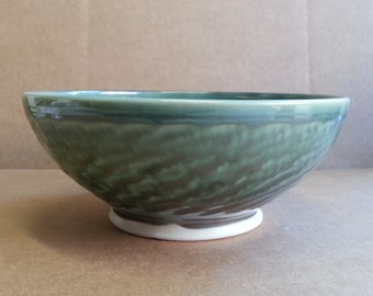 Wheel Thrown Pottery Bowl in a Shiny Green Sage with Textured Exterior