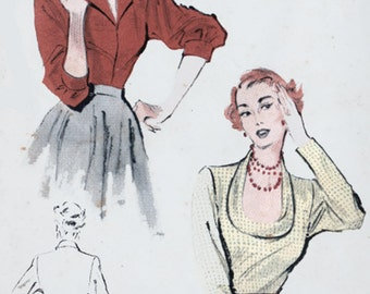 1950s Blouse with Horseshoe or Tuxedo Neckline Butterick 5461  Vintage 50s Rockabilly Sewing Pattern Size 14 Bust 32