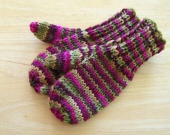 Child Wool Mittens Small Hand Knit Kimono