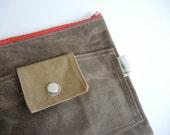 Brown Waxed canvas zipper case clutch travel storage mothers diaper case makeup bag minimalist clutch pencil case redwood unisex pouch