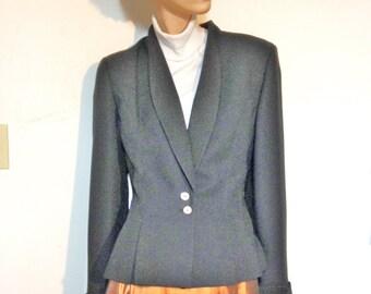 Tuxedo Jacket Black Women's Size 10 Fitted & Gorgeous Vintage 80s