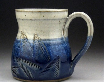 Stoneware Mug with Etched Fern Design in Blue & White Made-To-Order