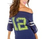 12th Man- Go Hawks! Old-School Football Off the Shoulder Sweaters.  Sizes S-XL.