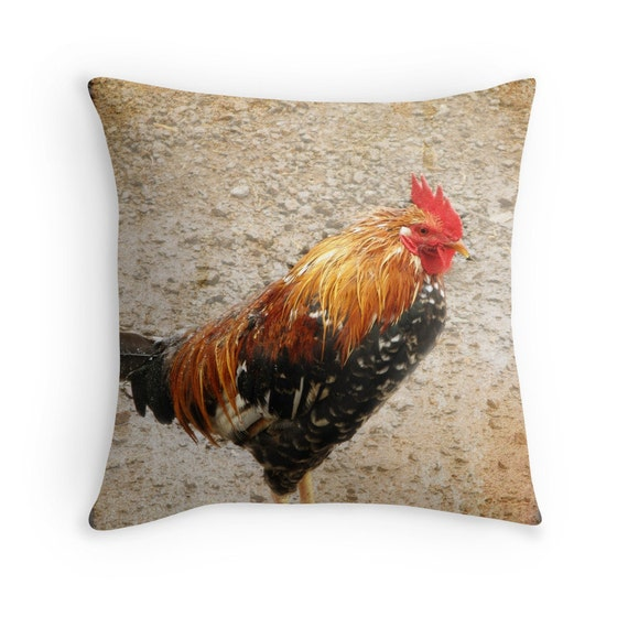Items similar to Photo Pillow Cover, Rooster Pillow Cover, Brown, Red, Orange Hoe Decor ...
