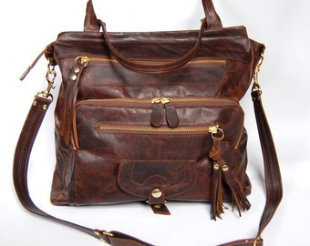 Willow leather tote bag in antique walnut wood - gold hardware