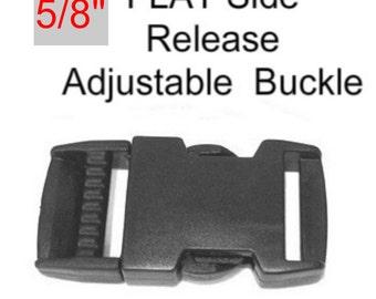 """10 BUCKLES - 5/8"""" - FLAT Adjustable Side Release, Strap Adjuster, Plastic BLACK"""