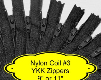 "20 ZIPPERS - 9"" or 11"" - YKK Nylon Zippers - 9 inch or 11 inch -  Size 3 - BLACK - Closed End - Non-separating"