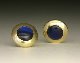 Vintage Swank Cufflinks 1960-1970s Gold tone with blue faux stones